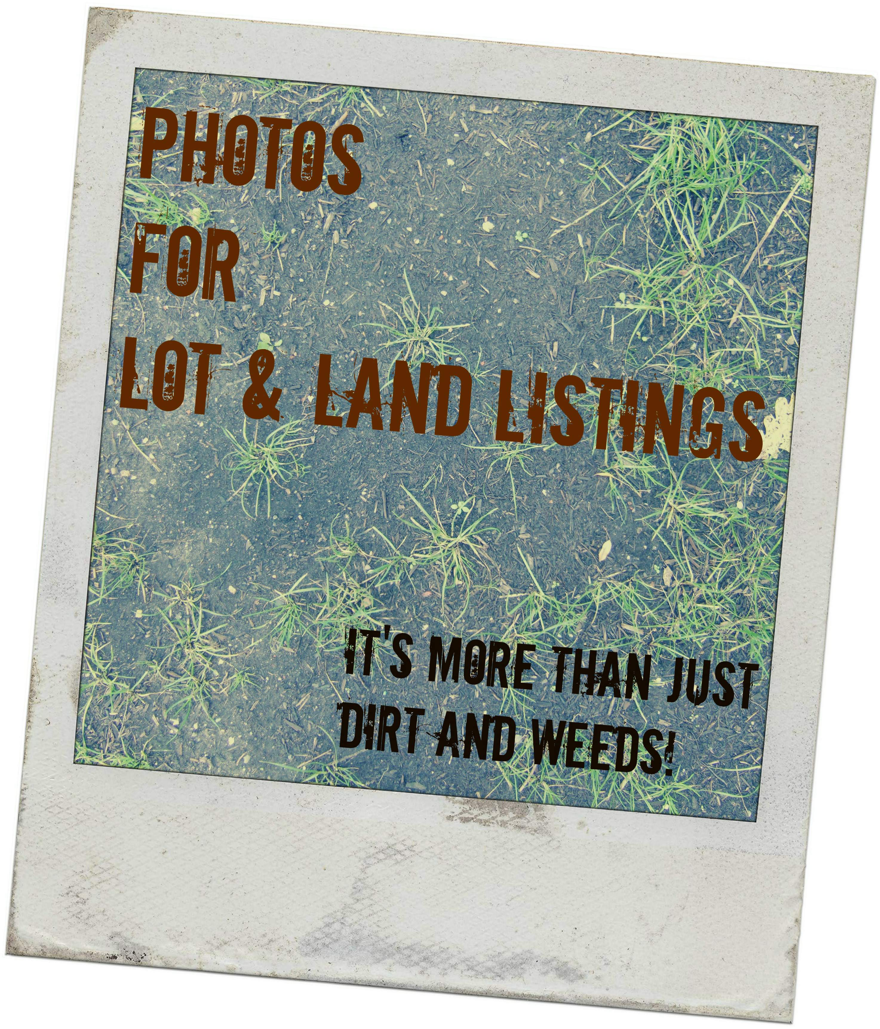 Photo of land and weeds with words Photos for Lot & Land Listings: It's More Than Just Dirt and Weeds